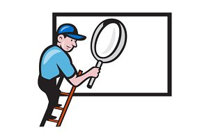 Worker Ladder Magnifying Glass