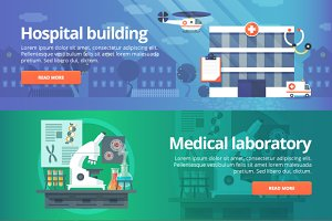 Medical and Health Flat Banners Set