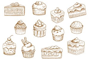 Pastry  and sweet desserts sketches