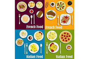 Italy and France cuisine dishes