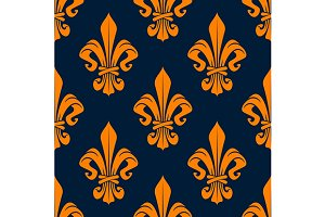 Orange royal french seamless pattern