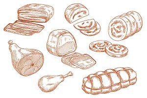 Fresh meat products sketches set