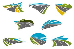 Highway, pathway and roads icons