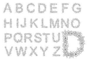 Retro floral romantic font letters