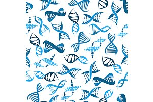 Blue DNA elements seamless pattern
