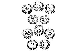 Anniversary heraldic laurel wreaths