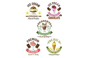 Premium ice cream desserts emblems