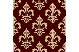 Pale brown fleur-de-lis pattern