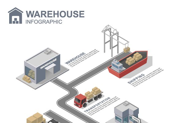 Isometric warehouse infographics