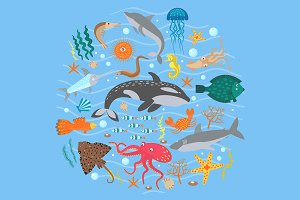 Set of Cute Sea animals + line style