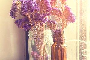 Purple flowers bunch.