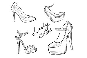Lady shoes Sketched