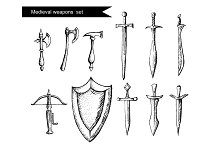 Set of the medieval weapon