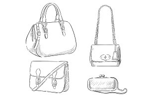 Women's Bags Hand Drawn Purses set