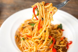 Spaghetti ,Thai fusion food.