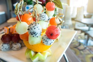 Fresh fruit salad balls.