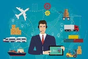Logistics delivery agent concept.