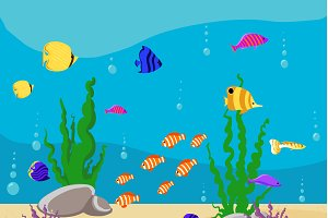 Fish collection Ocean Cartoon