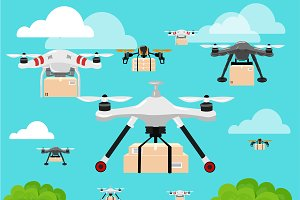 Air drone hovering (quadrocopter)
