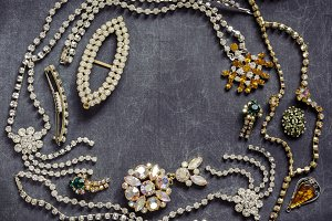 Glossy Jewelry on a dark background