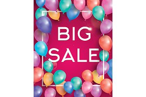 Big sale poster with balloons