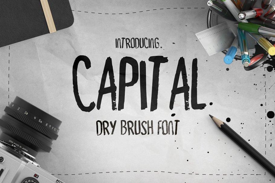 9748f1a33 Capital Dry Brush Font ~ Display Fonts ~ Creative Market