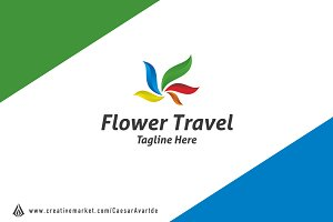 Flower Travel Logo Template