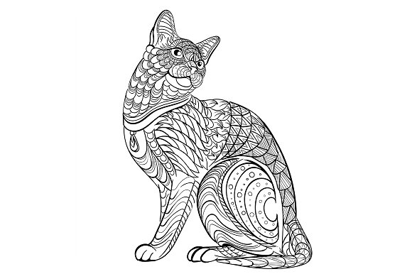 Coloring book for adult. cat - Illustrations