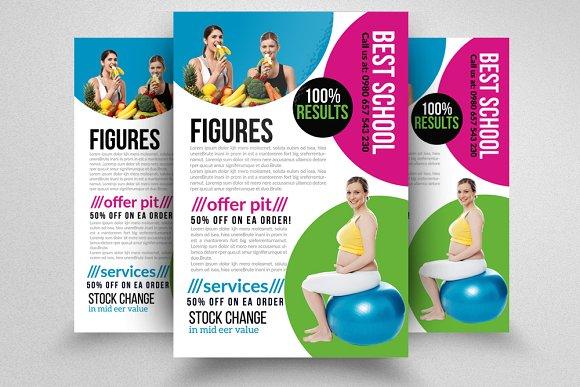 fitness body shape program flyers flyer templates creative market