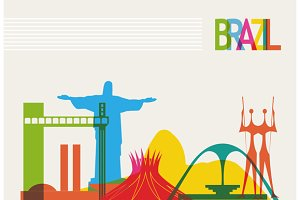 Travel Brazil landmarks background