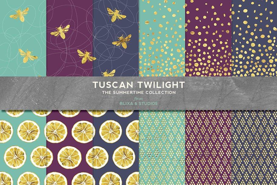 Tuscan Twilight Golden Lemons & Bees