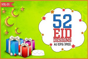 Eid Mubarak, Designs Vol - 1