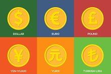 Currency Icons. Flat Golden Coins