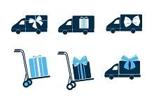 Delivery Car,Delivery Box Vector Set