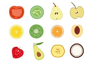 Fruits and vegetables slices