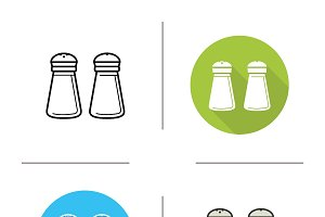 Salt and pepper shaker icons. Vector