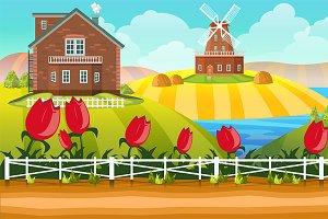 Cartoon Farm  Background