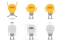 Set of bulb light characters icons