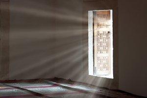 Light entering through open door