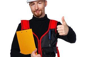 Builder holding folder, thumb up