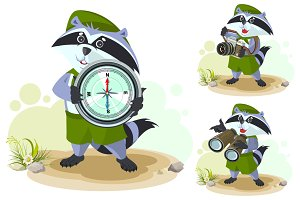 Scout raccoon with compass