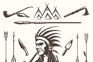 Native american indian ethnic icons