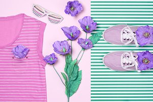 Overhead outfit fashion essentials set, flowers