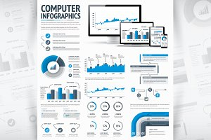 IT Statistics Vector Infographic Set