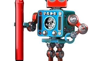 Vintage Robot with red pen. Isolated. Contains clipping path