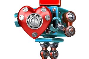 Cute 3d Retro Robot obot with red heart. Isolated. Contains clipping path