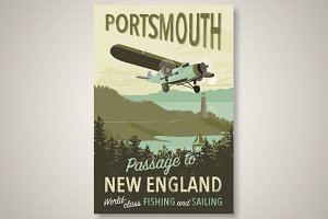Portsmouth Travel Poster Graphic
