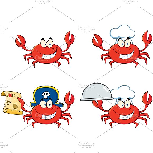 Four Crab Character Collection