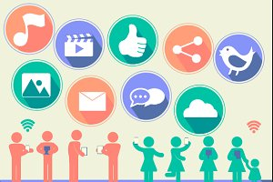 Social Network flat icon vector