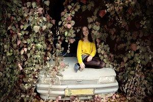 Beautiful girl with car